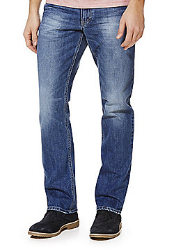 F&F Frayed Hem Straight Leg Jeans - Mid wash