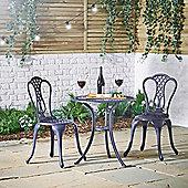 VonHaus Cast Aluminium Bistro Set - Denim Blue Garden Furniture