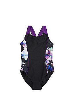 F&F Floral Print Panel Swimsuit - Black multi