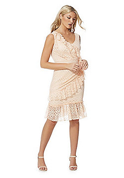 Feverfish Lace Frill Dress - Peach
