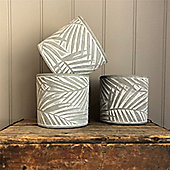Grey Palm Design Concrete Pot Cover