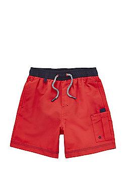 F&F Contrast Waistband Swim Shorts - Red