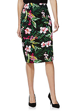 F&F Tropical Floral Print Pencil Skirt - Multi