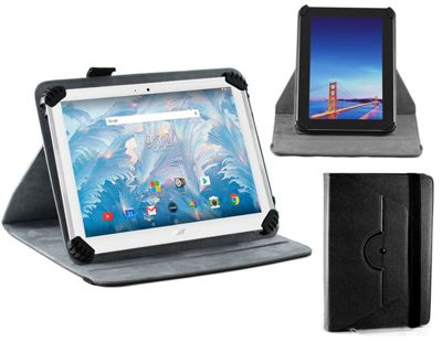 Navitech Black Faux Leather Case Cover With 360 Rotational Stand for the Acer Iconia One B3-A40 10
