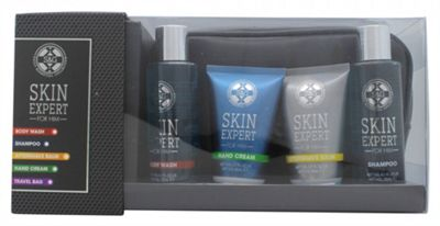 Style & Grace Skin Expert for Him The Travellers Bag Gift Set 120ml Shower Gel + 80ml Aftershave Balm + 80ml Hand Cream + 120ml Shave Gel + Cosmetic