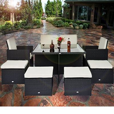 outsnny 9pc rattan garden furniture cube wicker dining set black - Rattan Garden Furniture Tesco