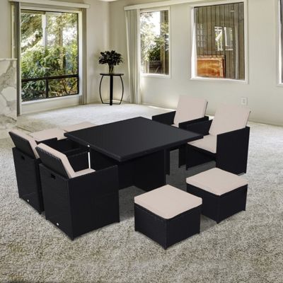 outsnny 9pc rattan garden furniture cube wicker dining set black garden furniture sets tesco