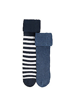 F&F 2 Pair Pack of Striped and Marl Knitted Tights - Blue