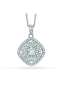 REAL Effect Rhodium Plated Sterling Silver White Cubic Zirconia Dazzeling Detailed Diamond Charm Pendant - 16/18 inch