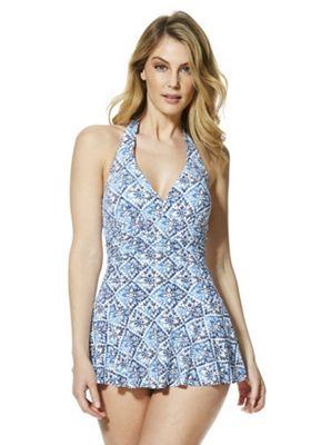 F&F Shaping Swimwear Tile Print Skirted Swimsuit Blue 22