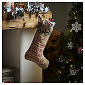 Hessian Santa's Workshop Christmas Stocking