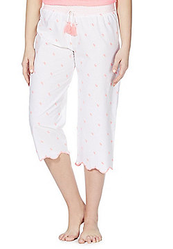 F&F Flamingo Embroidered Cropped Lounge Pants - White/Pink