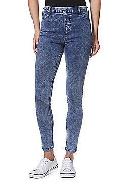 F&F Premium Acid Wash Mid Rise Jeggings - Light wash