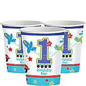 All Aboard 1st Birthday Cups - 256ml Paper Party Cups