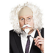 White Professor Stick On Moustache & Goatee Fancy Dress Accessory