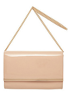 F&F Patent Metal Trim Clutch Bag Nude One Size