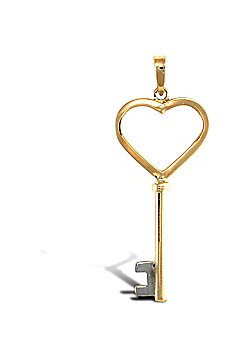 Ladies Solid 9ct Gold Key To My Heart Charm Pendant