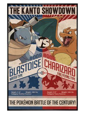Pokemon Gloss Black Framed Red v Blue PKMN Poster 61x91.5cm