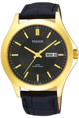 Pulsar Gents Black Leather Strap Watch PXF290X1