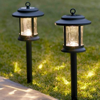 Pair of Warm White LED Glass Solar Lantern Stake Lights