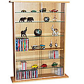DVD/CD Book Storage Shelves Glass / Collectable Display Cabinet - Beech