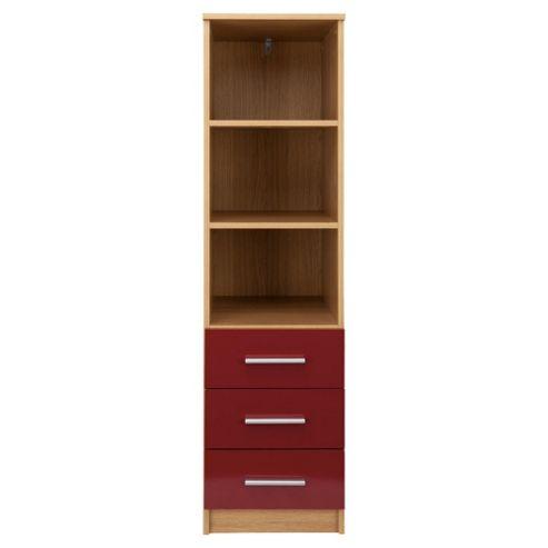 Jazz 3 Drawer Storage Unit, Oak/Red Gloss