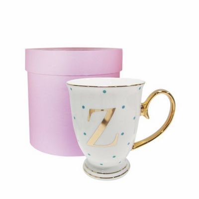 Bombay Duck Alphabet A to Z Spotty Mug Cup Gold Letter with Presentation Hat Box | Aqua Spots| Letter Z