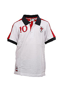 RFU Official England Rugby Union Boys Supporter Panel Polo White - White