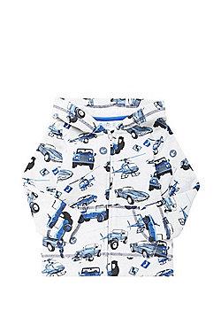 F&F Car Print Zip-Through Hoodie - Blue/White