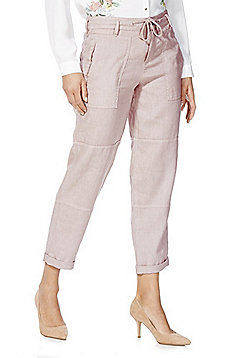 F&F Linen Ankle Grazer Trousers - Pink