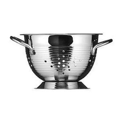 Premier Housewares Ribbed Stainless Steel Colander with Side Handles, 18cm