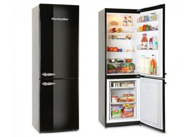 Montpellier MAB385K Black Retro Fridge Freezer