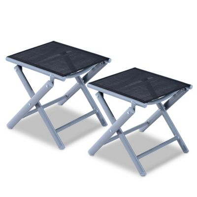 Outsunny 2 PCs Aluminium Texteline Portable Stool Folding Travel Camping Chair Footrest