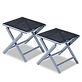 Outsunny 2 PCs Aluminium Texteline Portable Stool Folding Travel Camping Chair Footrest