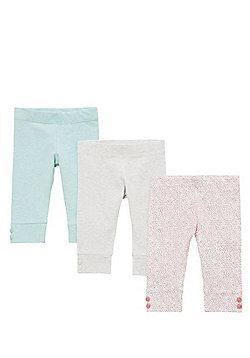 F&F 3 Pack of Deep Cuff Leggings - Grey