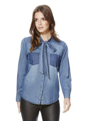 Only Pussybow Denim Shirt M Mid wash