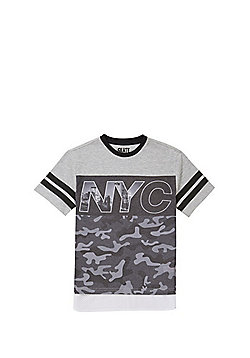 F&F NYC Camo Print T-Shirt - Grey/Black