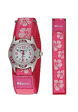 Girls Hot Pink Hibiscus Flower Velcro Strap Watch