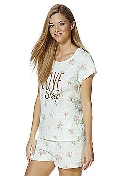 F&F Floral Stripe Slogan Shorts Pyjamas - Mint green