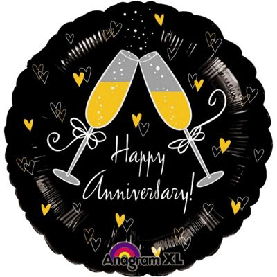 Happy Anniversary Cheers Balloon - 18 inch Foil