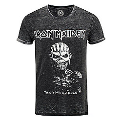 Iron Maiden Book Of Souls Burn Out Grey Men's T-shirt - Silver