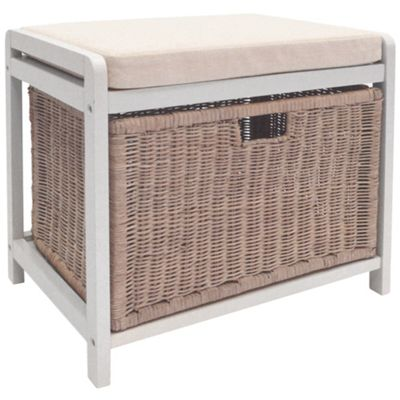 Wicklow - Laundry Hamper / Storage Stool - White / Cream