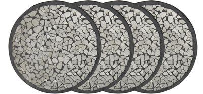 Set Of 4 Round Black Mosaic Coasters