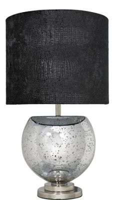 Silver Mercury Bowl Table Lamp With A Black Crocodile Cylinder Shade