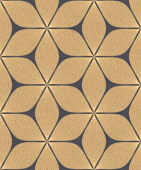 Coloroll Vibration Gold/Black Wallpaper