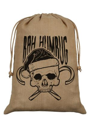Bah Humbug Hessian Santa Sack 40x55cm, Brown