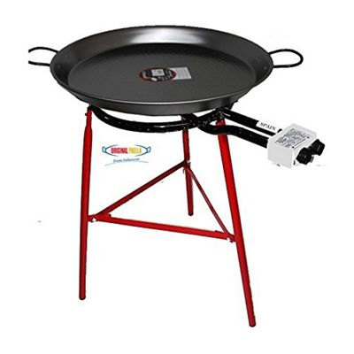 Paella Cooking Set with 60cm Polished Steel Paella Pan, Gas Burner, Legs and Spoon