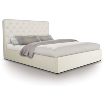 Contemporary Opulent Ottoman Gas Lift Storage Bed Upholstered in Faux Leather - King - White