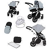 ickle bubba Stomp V2 All in One Travel System/Bouncer Combo - Silver (Silver Chassis)