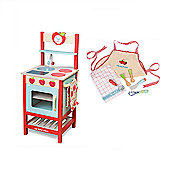 Le Toy Van Applewood Kitchen with Apron & Utensils Set